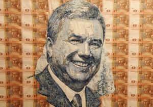 Украинский художник изобразил Януковича и Тимошенко на купюрах