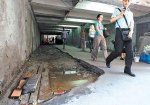 В Киеве затопило подземный переход возле станции метро Олимпийская