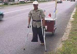 60-летний инвалид в одиночку прошел на костылях по территориям, загрязненным Чернобылем