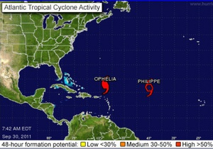 В Атлантическом океане набирает силу ураган Офелия