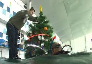 В Украине впервые установили елку под водой