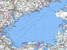 Карта Азовского моря Российское побережье и побережье Украины.