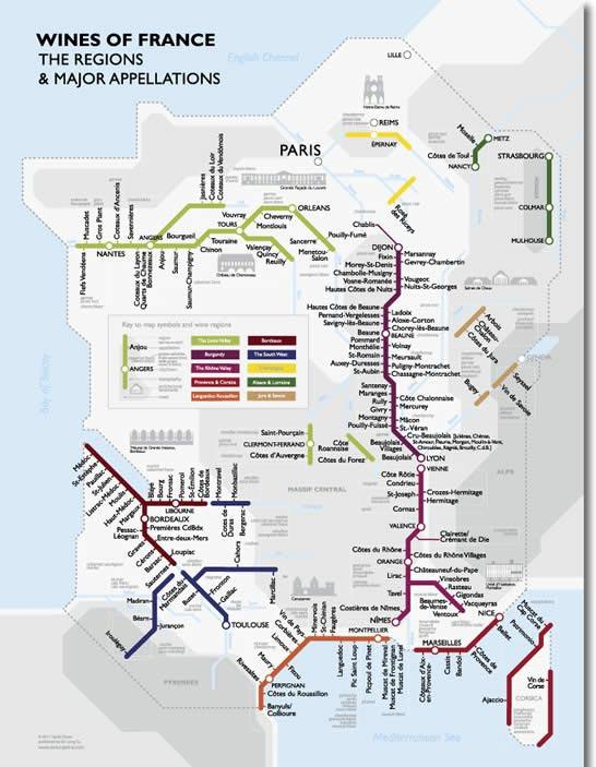 Франции в виде схемы метро